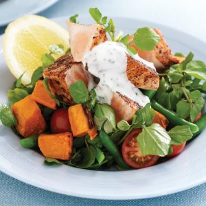 Salmon, kumara and watercress salad with yoghurt dressing