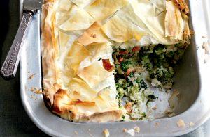 Salmon, leek, rice and broccoli filo pie