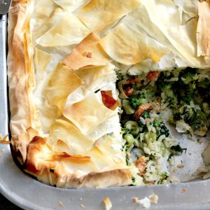 Salmon, leek, rice and broccoli filo pie
