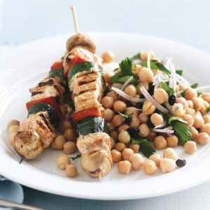 Salmon skewers with Moroccan chickpea and parsley salad