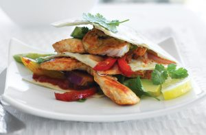 Salsa chicken fajita stacks