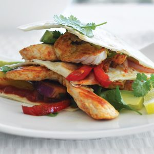 Salsa chicken fajita stacks