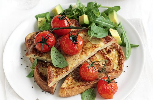 Savoury French toast with roast tomatoes