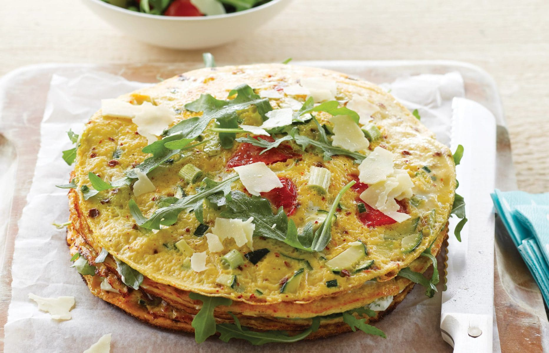 Savoury omelette layer cake