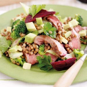 Seared beef, lentil and beetroot salad