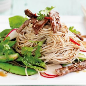 Seared beef with soba noodle salad