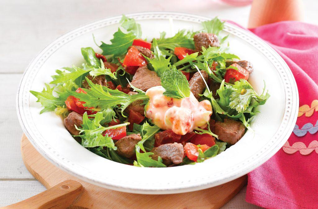 Seared lamb salad with chilli and feta yoghurt dressing