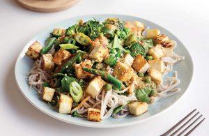 Sesame ginger tofu noodle salad