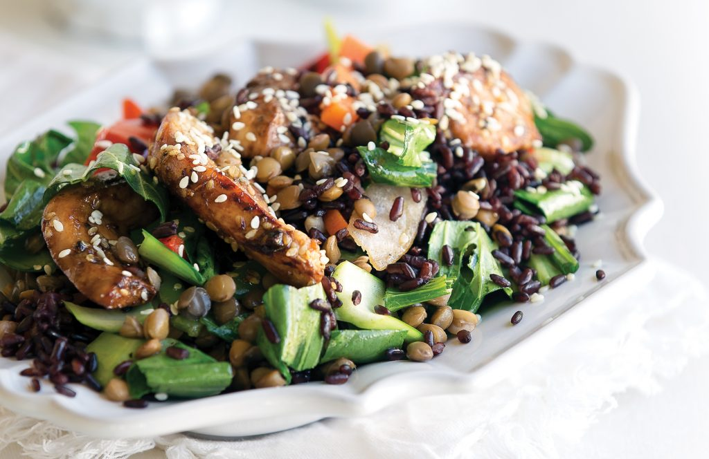 Sesame soy chicken with lentils