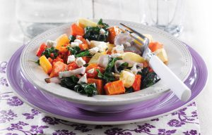 Silver beet and roasted vegetable salad