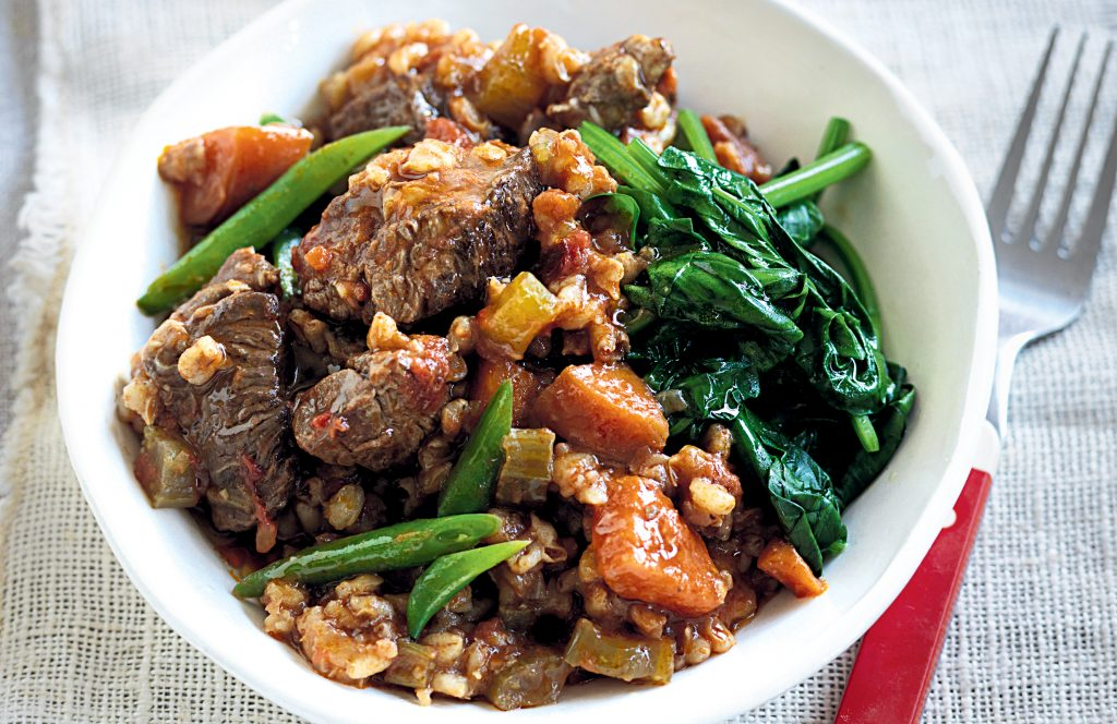 Slow-cooked beef, barley and vegetables