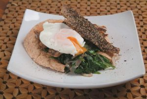 Smoked mackeral with spinach and egg