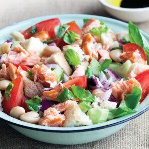 Smoked salmon panzanella salad