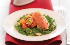 Smoked salmon salad with creamy citrus dressing