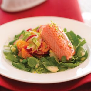 Smoked salmon salad with creamy citrus dressing