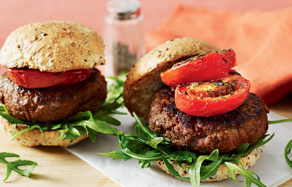 Smoky beef burgers with roasted tomatoes