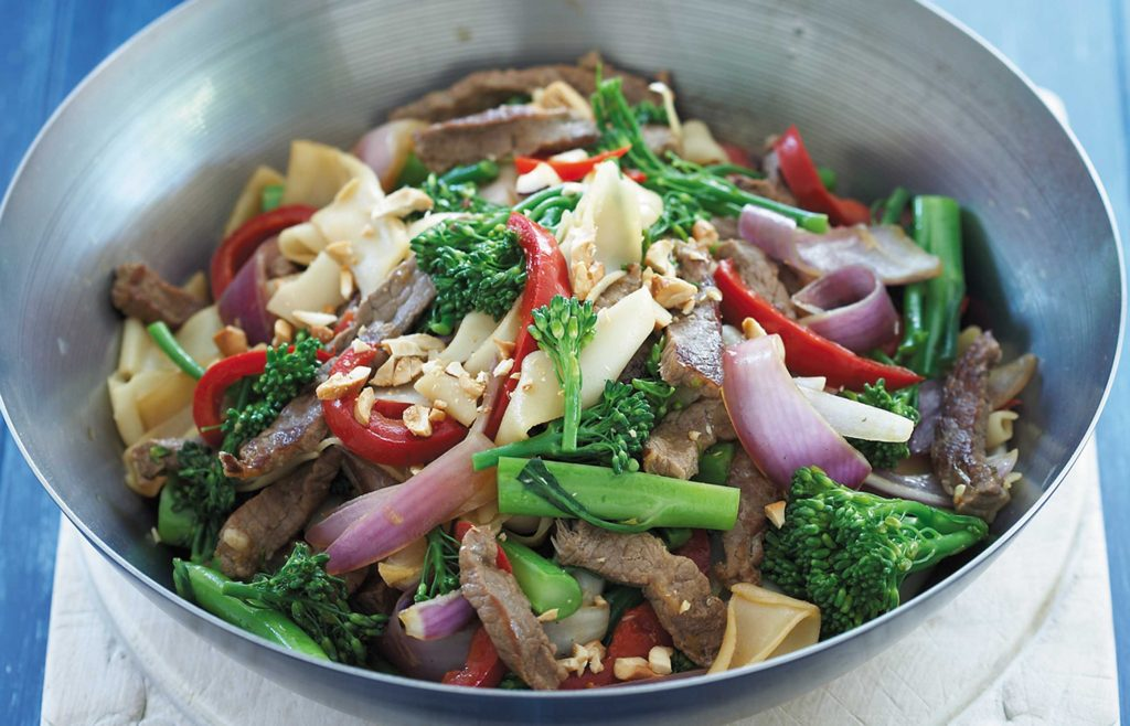 Soy beef and noodle stir-fry