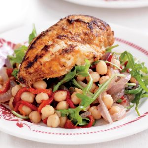 Spanish chicken with chickpea salad