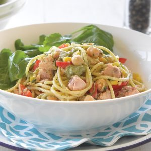 Speedy salmon spaghetti with green leaf sauce