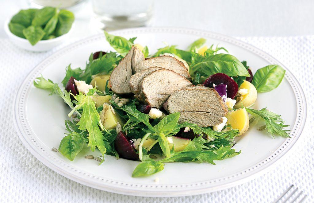 Spiced lamb, beetroot and feta salad