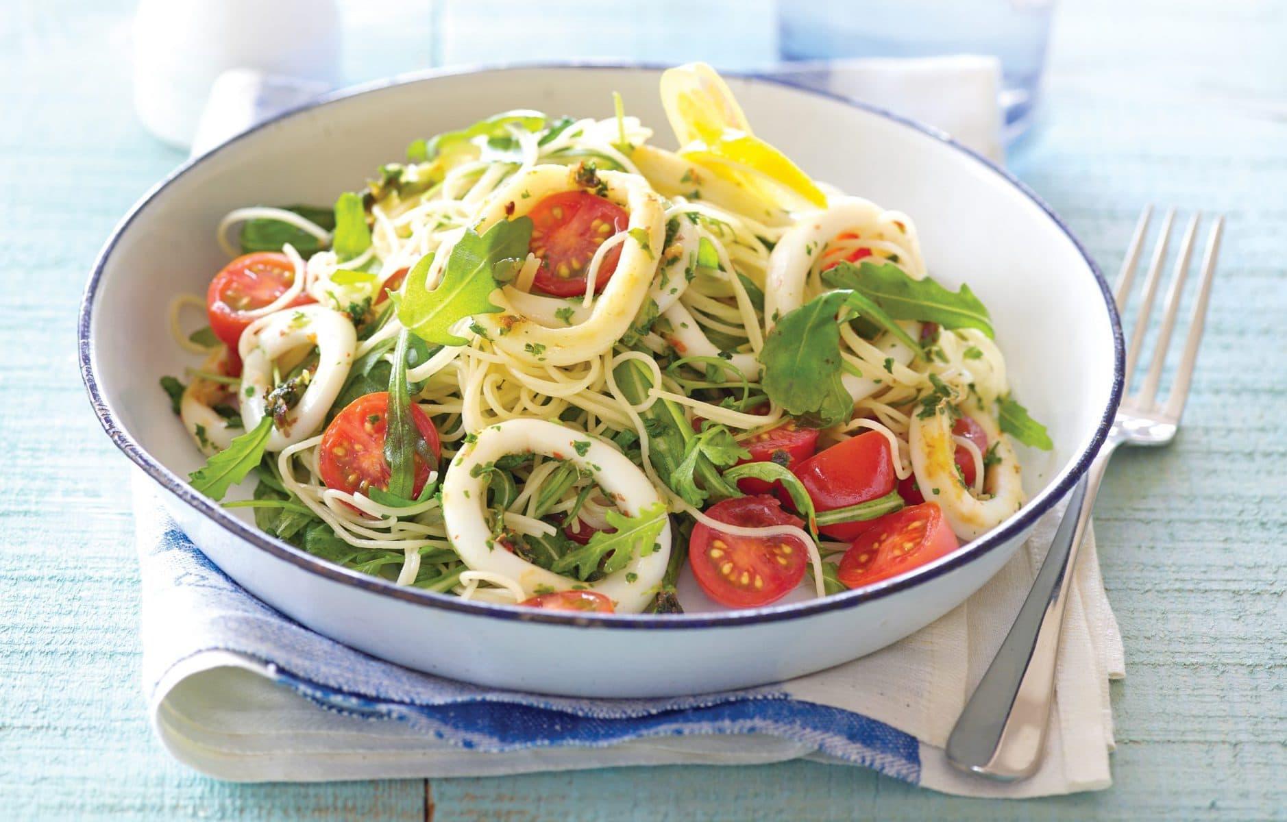 Spicy calamari with spaghetti