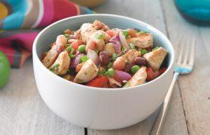 Spicy chicken and bean salad