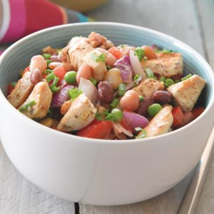 Spicy chicken and bean salad