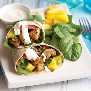 Spicy fish fajitas