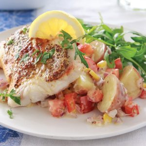 Spicy fish with mustard potatoes