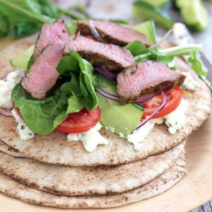 Spicy lamb, rocket and feta wraps