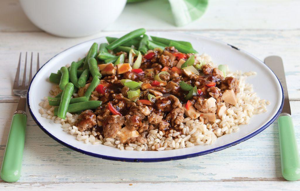 Spicy pork and tofu stir-fry