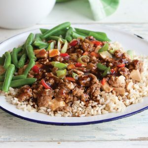 Spicy pork and tofu stir-fry