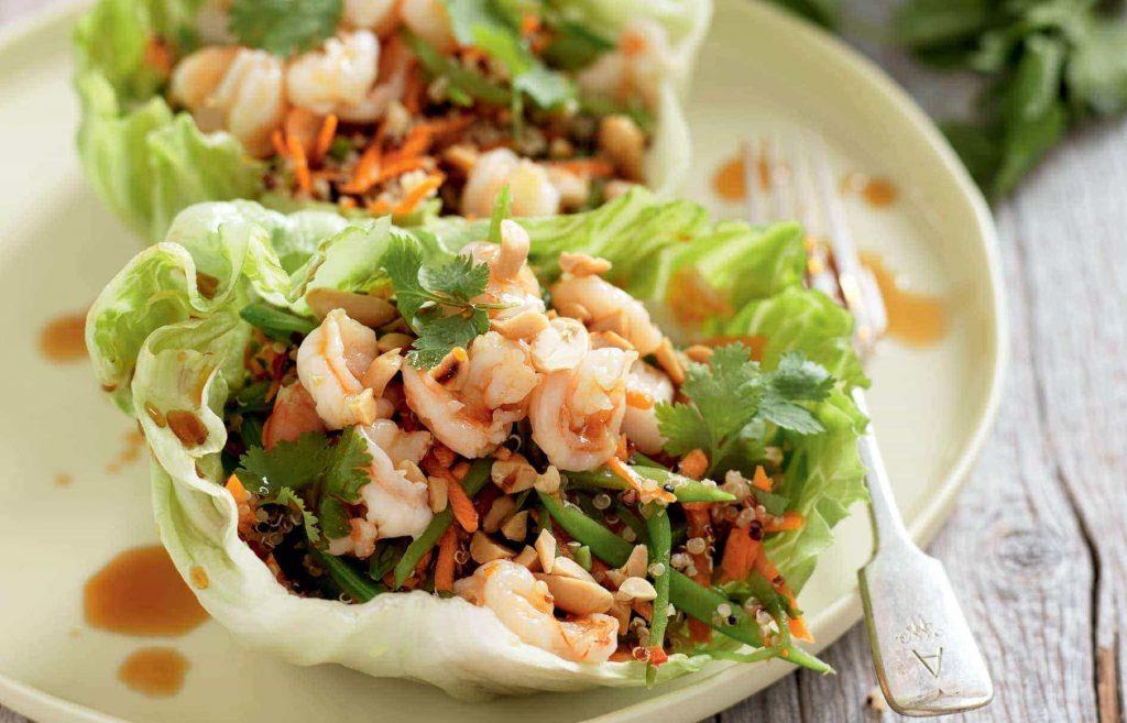 Spicy prawn and quinoa lettuce wraps
