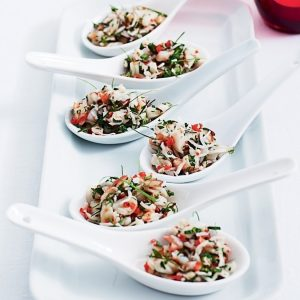 Spicy prawn, coconut and kaffir lime spoons