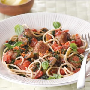 Spicy sausage meatballs with three-vege spaghetti sauce