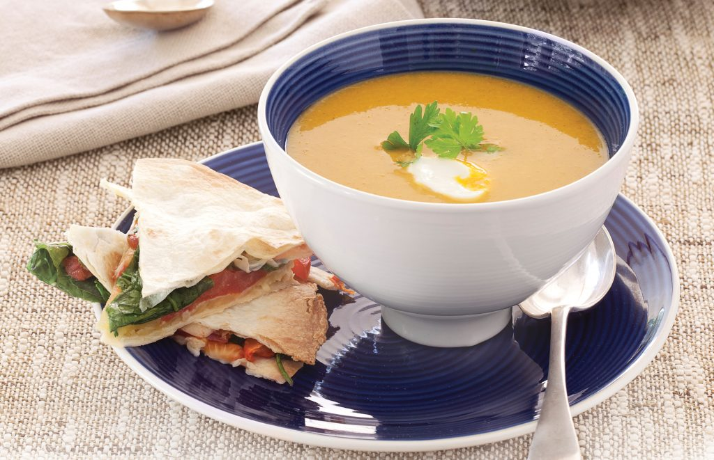 Spicy squash soup with tortilla vege melts