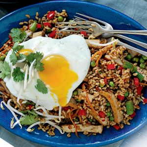 Spicy tofu rice and fried egg