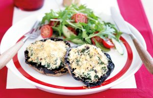 Spinach and ricotta baked mushrooms