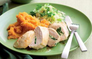 Spinach and ricotta-stuffed chicken with kumara mash