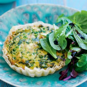 Spinach, pea, salmon and ricotta quiche