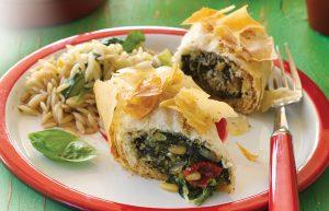 Spinach, sun-dried tomato and parmesan filo rolls