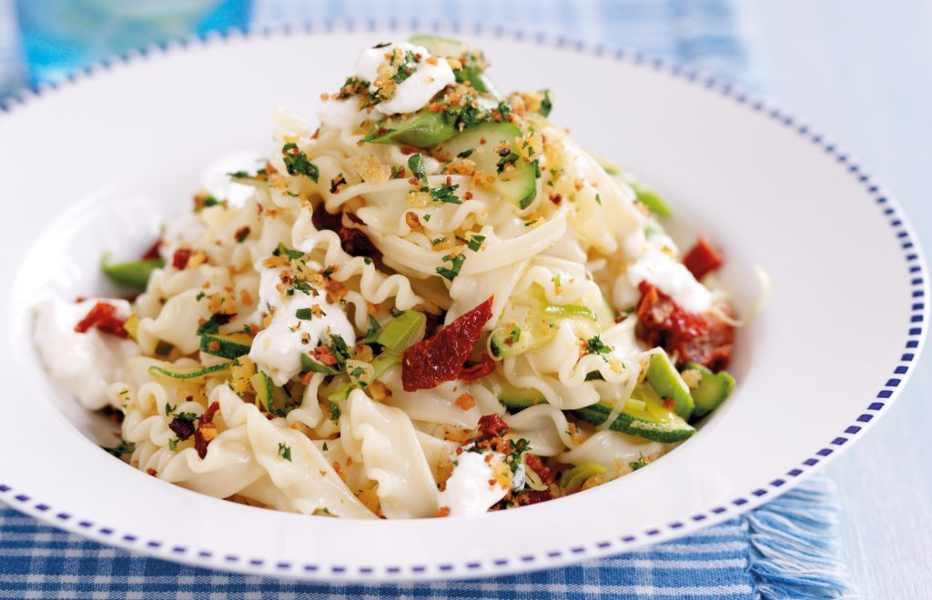 Spring vegetable pasta with garlic breadcrumbs