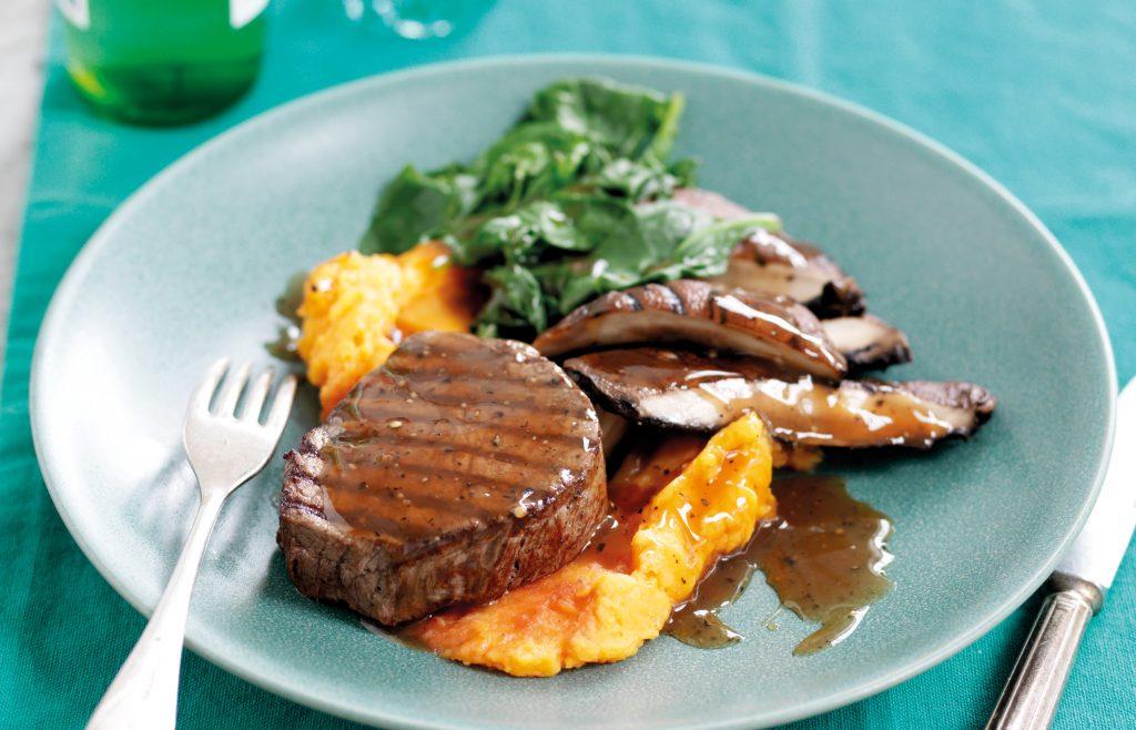 Steak with portobello mushrooms and pepper sauce