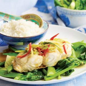 Steamed fish with ginger, chilli and hot sesame dressing