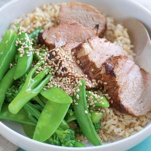 Sticky honey and soy pork with sesame greens