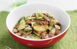 Stir-fried beef and Brussels sprouts