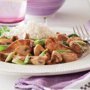 Stir-fried chicken and mushrooms