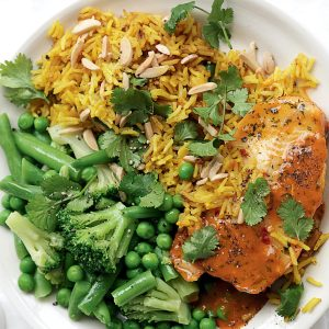 Sweet chilli fish with almond pilaf