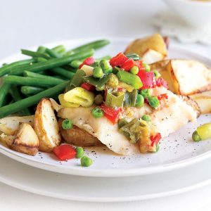 Sweet chilli fish with vegetables and chips