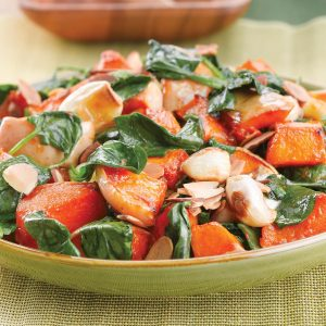 Sweet roasted butternut and garlic with almonds